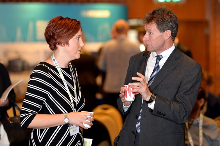 Attendee's discuss business at Construction Frameworks Conference, Kensington Town Hall. 02.10.19