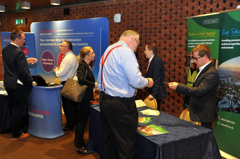 Attendee's check out the stands Construction Frameworks Conference, Kensington Town Hall. 02.10.19