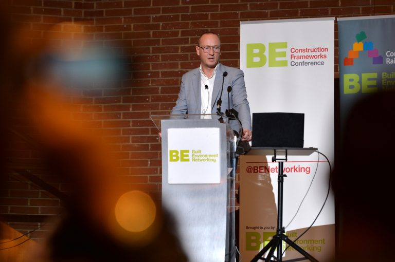 Simon Toplass speaks at Construction Frameworks Conference, Kensington Town Hall. 02.10.19