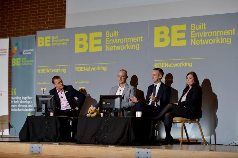 Phil laycock, Lisa Bliss, Robbie Blackhurst and Simon Toplass Construction Frameworks Conference, Kensington Town Hall. 02.10.19