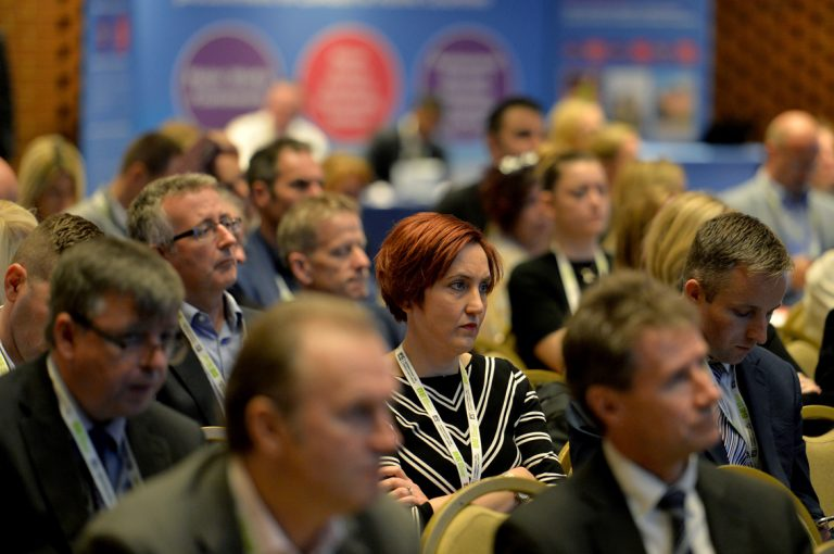 The Attendee's look on as the panel answer questions from the floor Construction Frameworks Conference, Kensington Town Hall. 02.10.19
