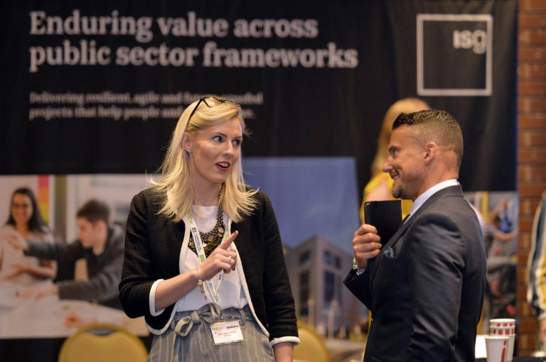 Attendee's disucss the day and network at Construction Frameworks Conference, Kensington Town Hall. 02.10.19