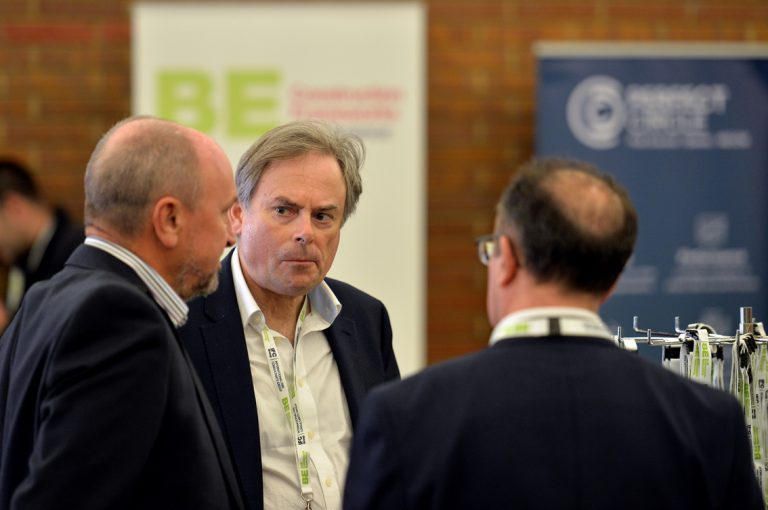 Attendee's discuss the day Construction Frameworks Conference, Kensington Town Hall. 02.10.19
