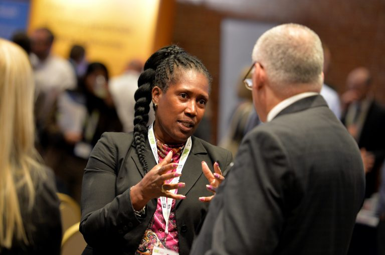 Attendee's discuss the day at Construction Frameworks Conference, Kensington Town Hall. 02.10.19