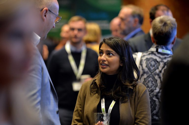 Attendee's talk amongst each other at Construction Frameworks Conference, Kensington Town Hall. 02.10.19
