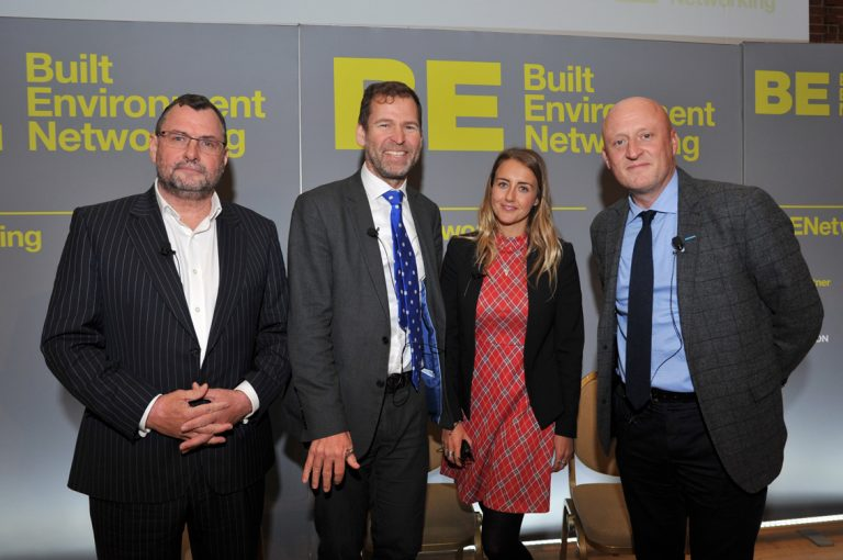 Gerard Toplass, Emma Hesbrook, Steve Howell and Adam Smith at Construction Frameworks Conference, Kensington Town Hall. 02.10.19