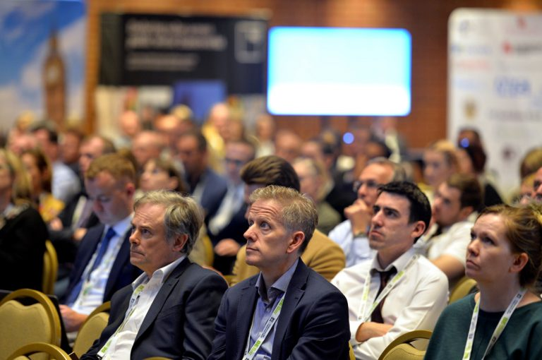 Attendee's watching session 3 at Construction Frameworks Conference, Kensington Town Hall. 02.10.19