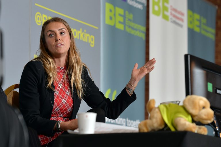 Emma Hesbrook of University of Wolverhampton Construction Frameworks Conference, Kensington Town Hall. 02.10.19