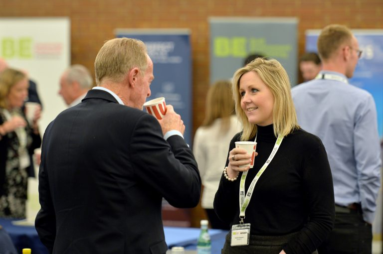Attendee's discuss the day of networking and presentations Construction Frameworks Conference, Kensington Town Hall. 02.10.19