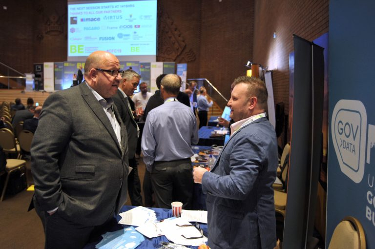 Attendee's from Frameworks converse over the day of networking Construction Frameworks Conference, Kensington Town Hall. 02.10.19