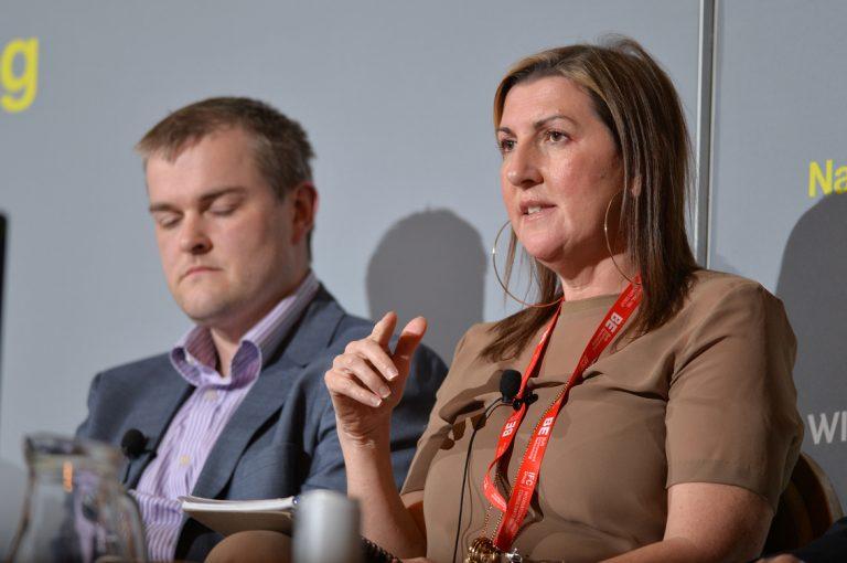 Chris Clarke and Sara Lawton at Construction Frameworks Conference, Kensington Town Hall. 02.10.19