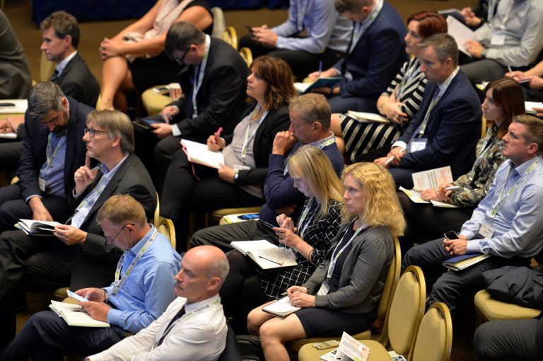 Crowds seated to watch the final session of the day take place Construction Frameworks Conference, Kensington Town Hall. 02.10.19