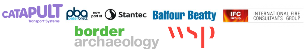 New Border Archaeaology Logo WSP Birketts Balfour Beatty IFC Group Fire Consultancy Transport Systems Catapult Logos Oxford Event