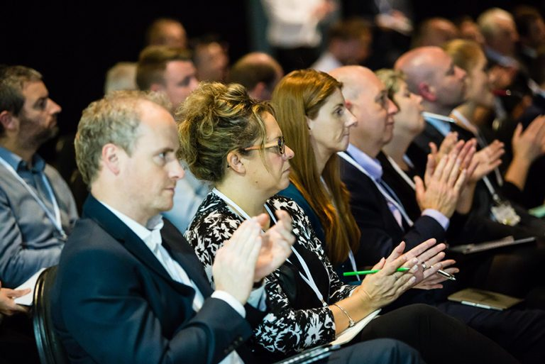 Attendee's on the front row of West Yorkshire Economic Growth Conference 2018