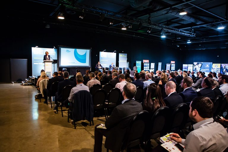 Crowd watches Susan Hinchcliffe Present at West Yorkshire Economic Growth Conference 2018