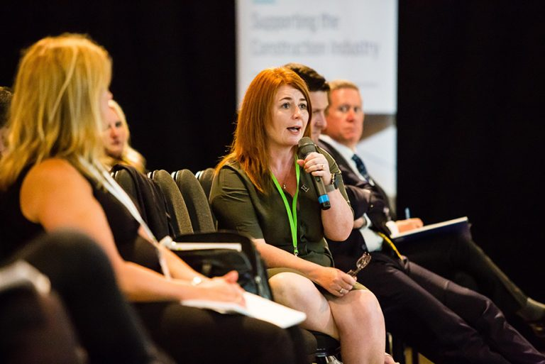Jacqui Gedman of Kirklees Council asks the Panel a question at West Yorkshire Economic Growth Conference 2018