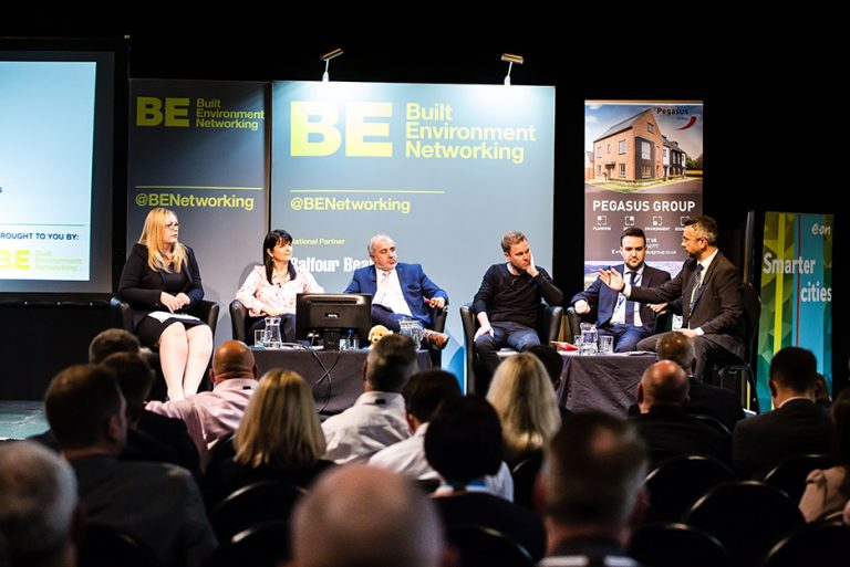 Jenny Purple, Sue Shirt, Shabir Pandor, Andrew Weaver, Stewart Thompson and Chris Calvert take a question panel at West Yorkshire Economic Growth Conference 2018