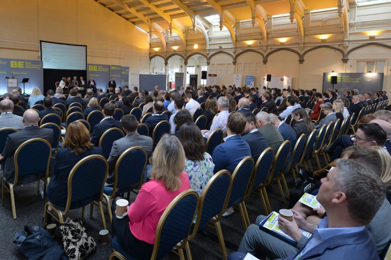 The seated area looking packed for Session 1 at West of England Development Conference, Bristol.08.10.19