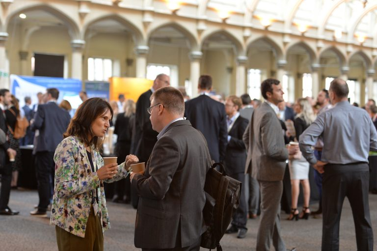 Attendee's discuss business over a coffee West of England Development Conference, Bristol.08.10.19
