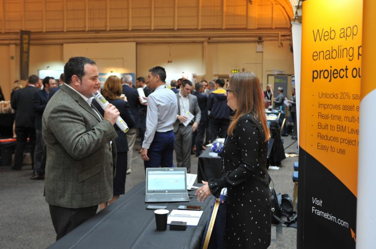 Attendee's discuss the day and swap details at West of England Development Conference, Bristol.08.10.19