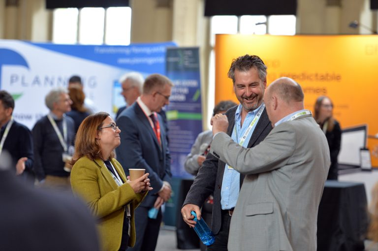 Attendee's discuss how the day was going at West of England Development Conference, Bristol.08.10.19