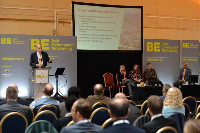 The Front of the Stage whilst Professor Guy Orpen of Univeristy of Bristol West of England Development Conference, Bristol.08.10.19