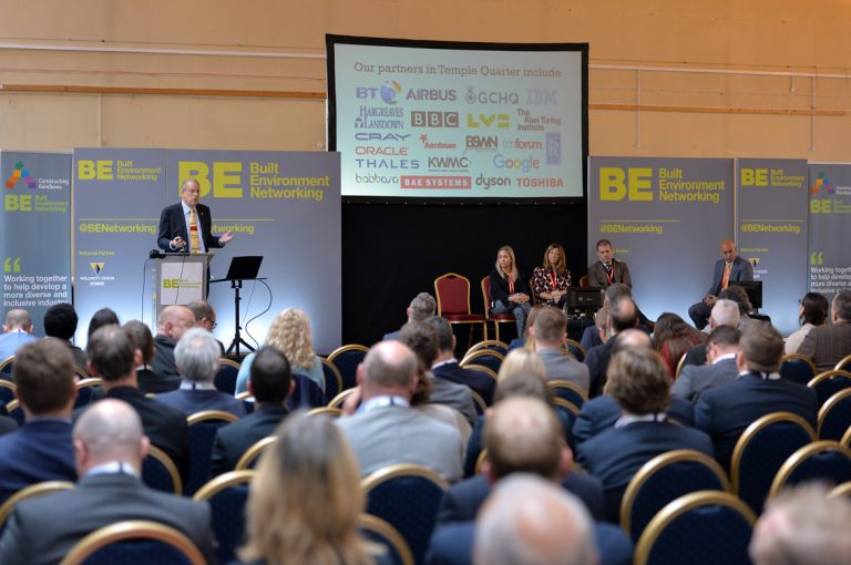 Attendee's watch on as Guy Orpen delivers his presentation West of England Development Conference, Bristol.08.10.19