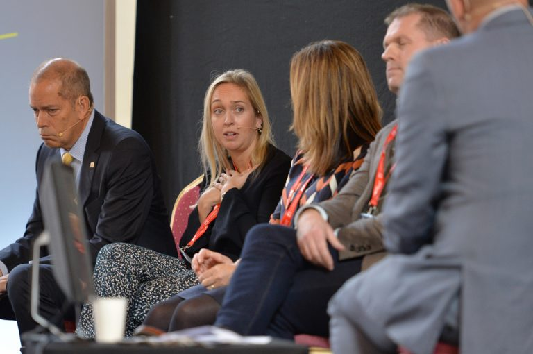 Lucinda Mitchell of First Base answers a question atWest of England Development Conference, Bristol.08.10.19