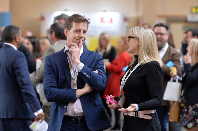 Attendee's converse about business at West of England Development Conference, Bristol.08.10.19