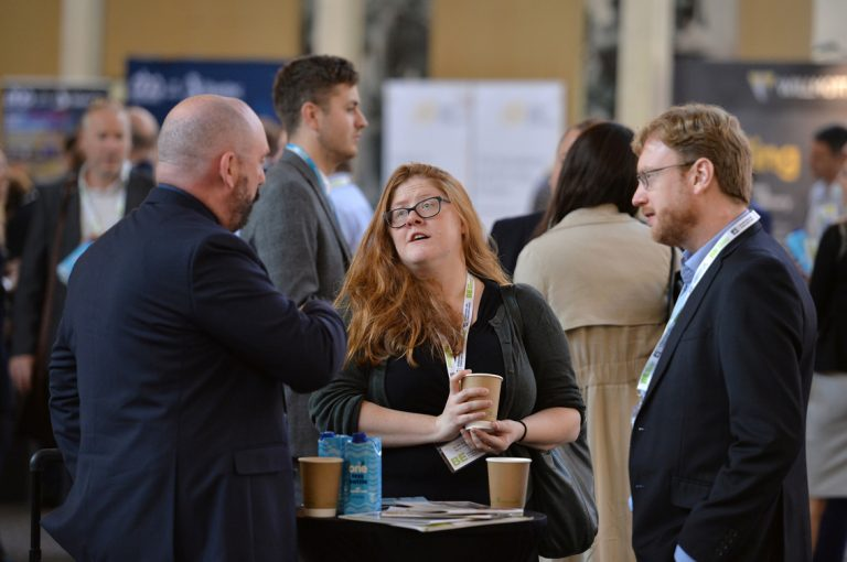 Attendee's discuss how the day is goingWest of England Development Conference, Bristol.08.10.19