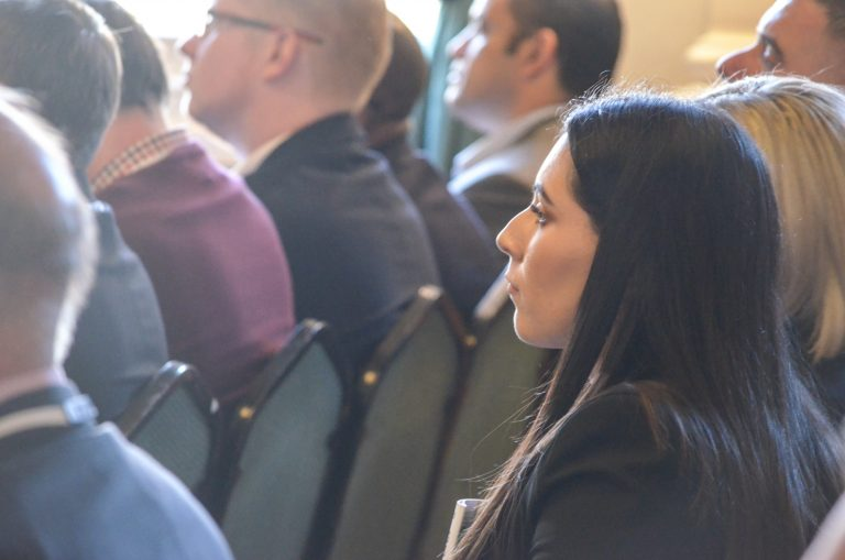 Attendee watches the speakers at Birmingham Development Plans 2018