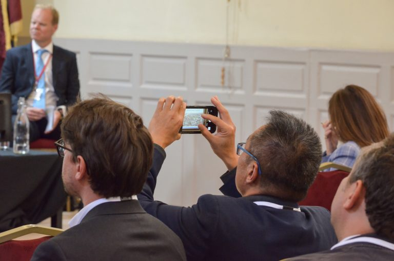 Dublin Development Plans 2018 an attendee takes a picture