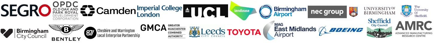 Event HS2 Conference Economic Growth University College London Lendlease Logo Birmingham Airport City Council Urban Growth Company Leeds Toyota Bentley Advanced Manufacturing Boeing Bentley Combined Authority Greater Manchester East Midlands Toton MAG Airport Imperial SEGRO