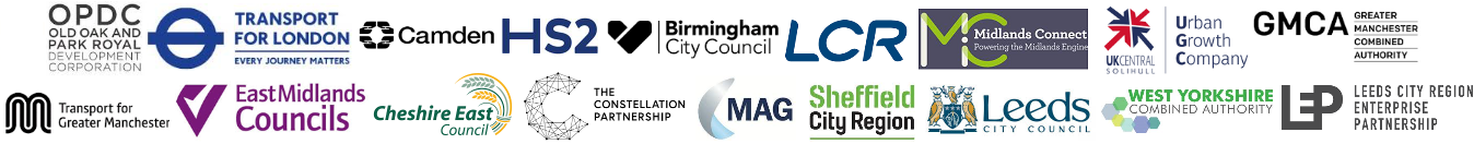 Logos HS2 Ltd Economic Growth Event Networking Exhibitor Conference LCR Birmingham City Council East Midlands Leeds City Council Manchester Airport MAG East Midlands Transport Combined Authority Cheshire Urban Growth