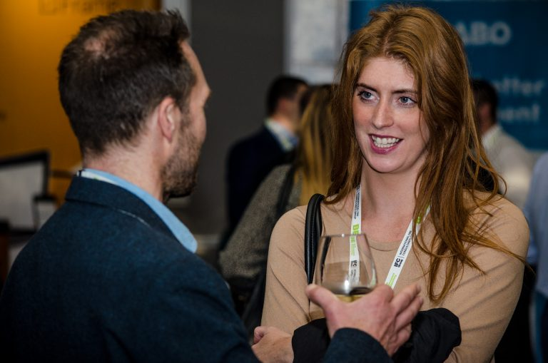 Attendee's discuss the evenings speakers and talk business