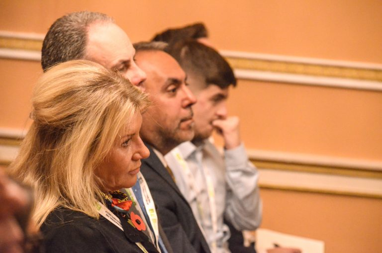 Attendee's look on as speakers present at Liverpool Development Plans 2018