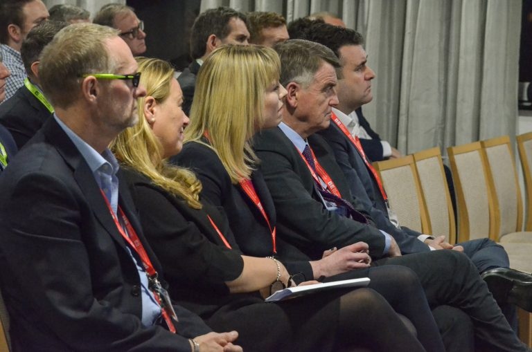 Iain Garfield, Joanne Peacock, Keith McDougall, Helen Cadzow and Martin Gannon watch Neil McMillan speak