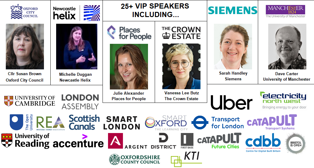 Smart Cities Speakers Crown Estate Oxford Places for People Siemens Sarah District Technologies Argent London Scottish Canals