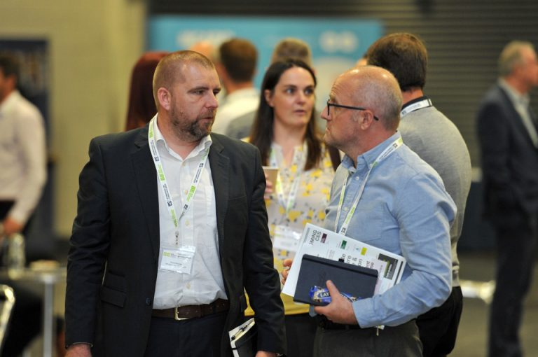 Offsite Manufacture Exhibition & Conference 2019 Attendee's discuss construction