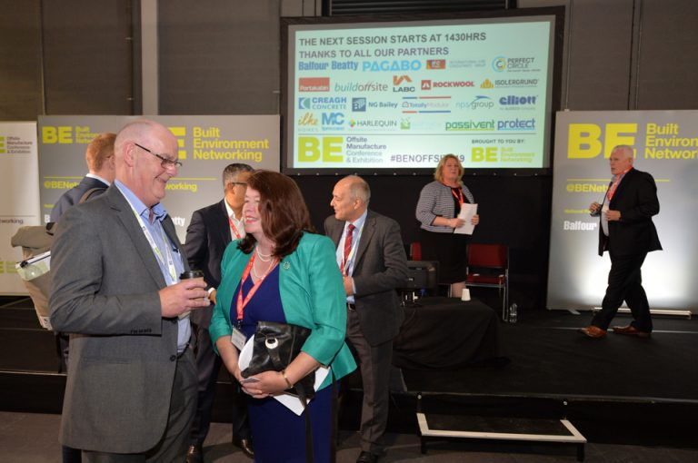 The stage and networking at Offsite Manufacture Exhibition & Conference 2019
