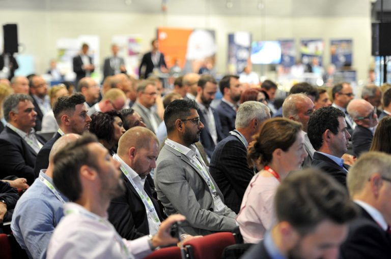 attendee's watching the speakers present Manufacturing Conference & Exhibition 2019
