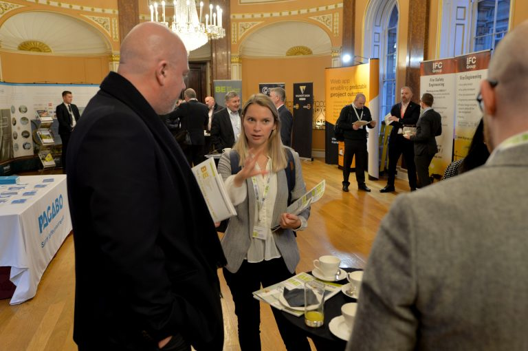 Attendee's discuss the events of the day North West Development Confernce, Liverpool.10.12.19