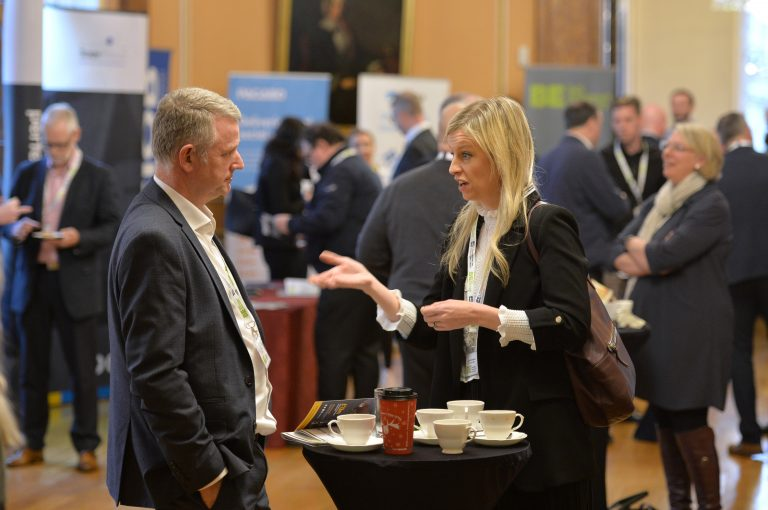 Attendee's discuss the day at North West Development Confernce, Liverpool.10.12.19