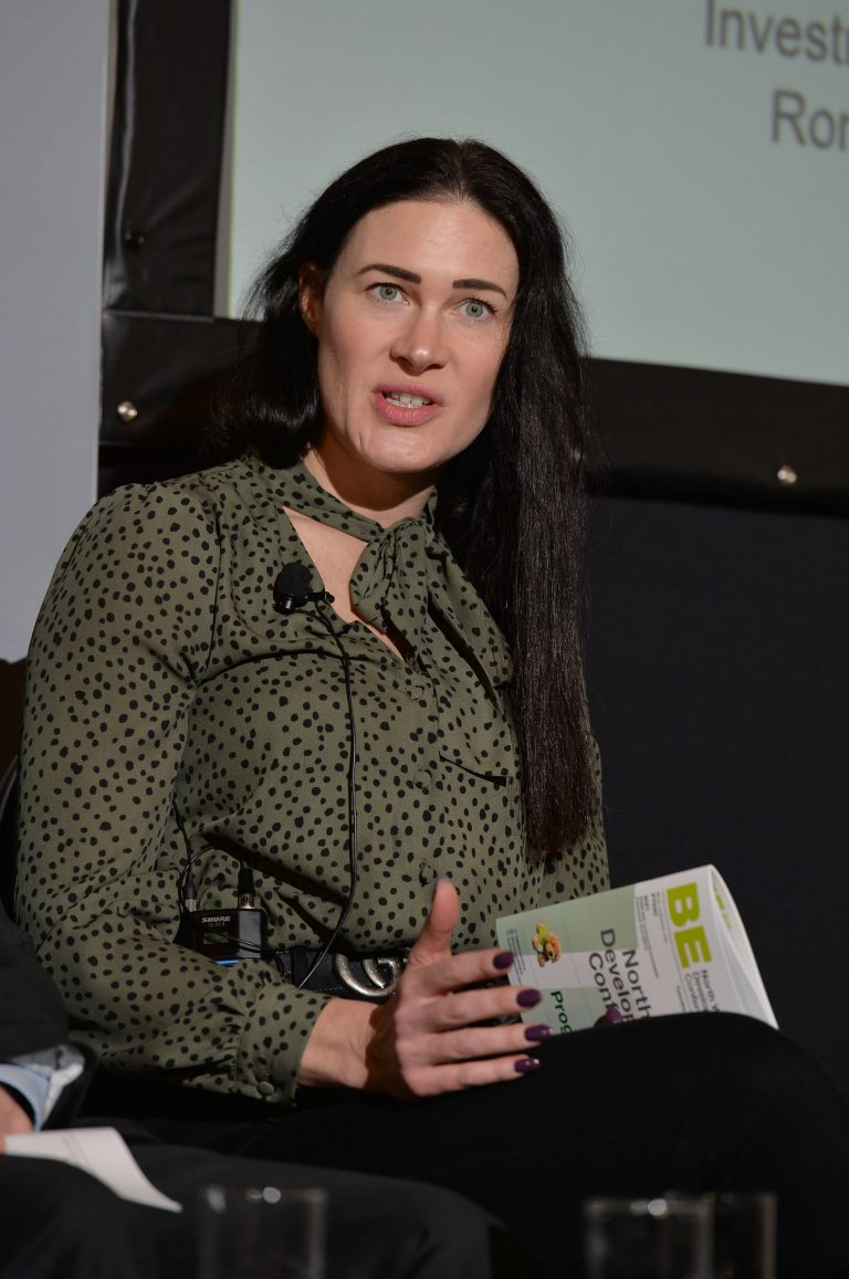 Louise Pearce of Romal Capital answers a question from the floor North West Development Confernce, Liverpool.10.12.19