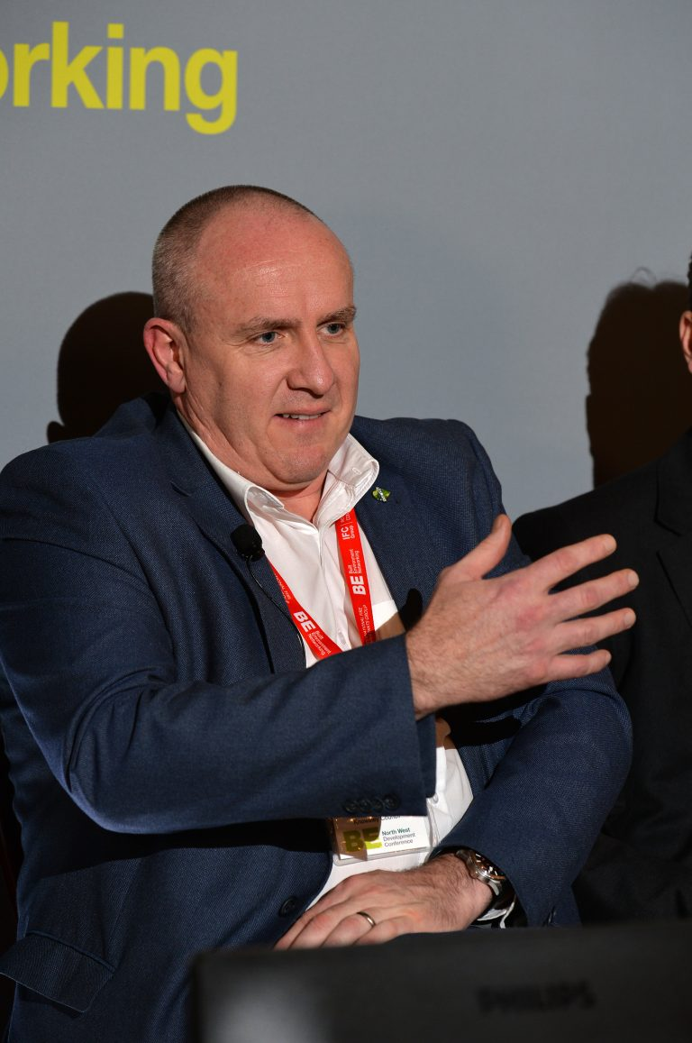 Dale Milburn of Knowsley Council answering a question from Slido North West Development Confernce, Liverpool.10.12.19