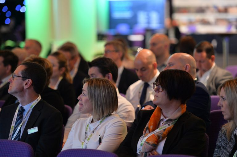 Attendee's watch the first panel discuss the future and present of Scotland