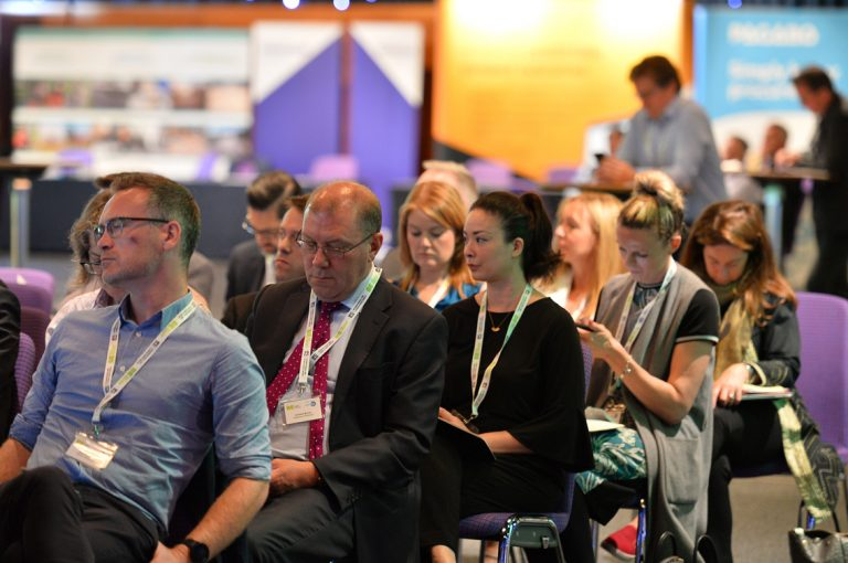 The Crowd taking notes during the first construction based panel at Scotland Development Conference 2019