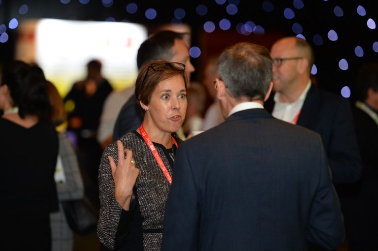 Attendee's discuss the days event and network