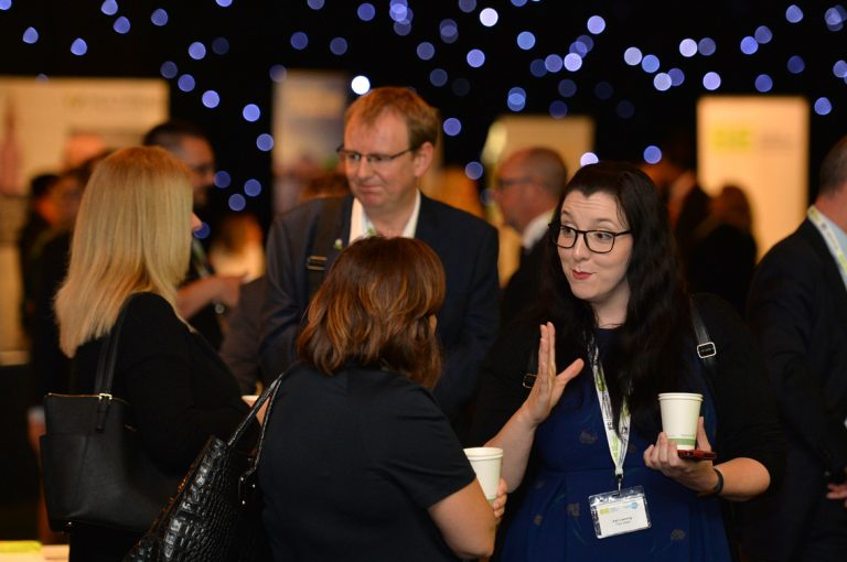 Attendee's discuss business at Scotland Development Conference