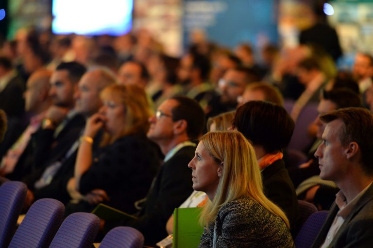 Attendee's watch the Investing into Infrastructure Panel Scotland Development Conference
